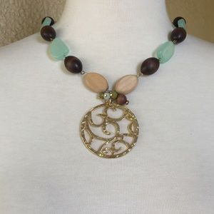 Necklace Wood and Stone w/Gold Brown and Green